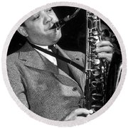 Lester Young  Round Beach Towel