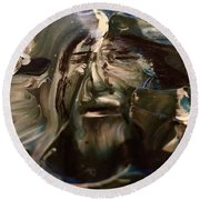Round Beach Towel featuring the painting Let Go The Anchor by Kicking Bear Productions