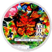 Round Beach Towel featuring the mixed media Let It Go by Genevieve Esson