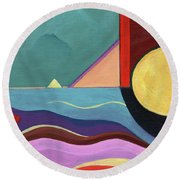 Let It Shine Round Beach Towel by Helena Tiainen