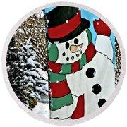 Let It Snow - Happy Holidays Round Beach Towel by Carol F Austin