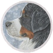 Round Beach Towel featuring the painting Let It Snow by Donna Mulley