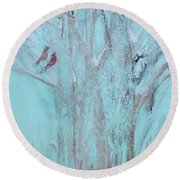 Round Beach Towel featuring the painting Let It Snow by Robin Maria Pedrero