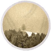 Round Beach Towel featuring the photograph Let It Snow - Winter In Switzerland by Susanne Van Hulst