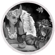 Let Me Explain - Black And White Fantasy Art Round Beach Towel