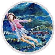 Let Me Play Among The Stars  Round Beach Towel