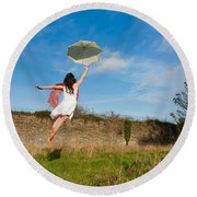 Let The Breeze Guide You Round Beach Towel