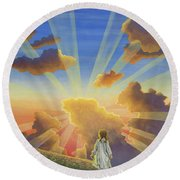 Let The Day Begin Round Beach Towel