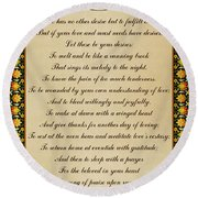 Let These Be Your Desires By Khalil Gibran Round Beach Towel