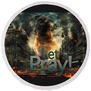 Round Beach Towel featuring the digital art Let Us Pray-2 by Kathy Tarochione