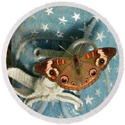 Let Your Spirit Fly Free- Butterfly Nature Art Round Beach Towel