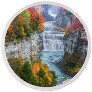 Letchworth Middle Falls In Fall Round Beach Towel