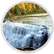 Letchworth State Park Middle Falls Autumn Round Beach Towel