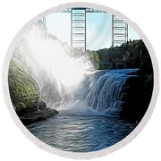 Letchworth State Park Upper Falls And Railroad Trestle Abstract Round Beach Towel