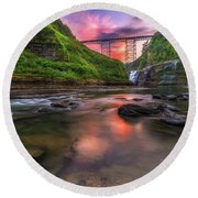 Letchworth Upper Falls At Dusk Round Beach Towel