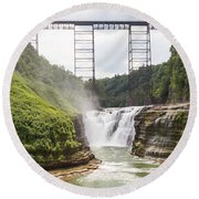 Round Beach Towel featuring the photograph Letchworth Upper Falls by Michael Chatt