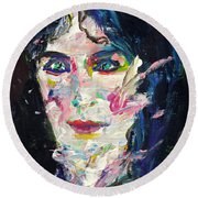 Round Beach Towel featuring the painting Let's Feel Alive by Fabrizio Cassetta