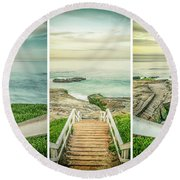 Let's Go Down To Windansea Round Beach Towel