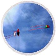Let's Go Fly 2 Kites Round Beach Towel