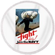 Let's Go Join The Navy Round Beach Towel