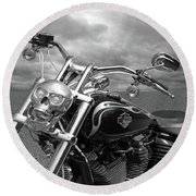 Let's Ride - Harley Davidson Motorcycle Round Beach Towel by Gill Billington