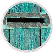 Letter Box On Blue Wood Round Beach Towel by John Williams