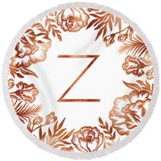 Letter Z - Faux Rose Gold Glitter Flowers Round Beach Towel