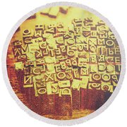 Letterpress Industrial Pop Art Round Beach Towel
