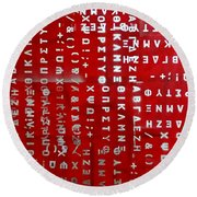 Letters And Numbers Silver On Red Round Beach Towel