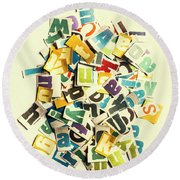 Letters In Jumble Round Beach Towel