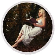 Levitation With Book Round Beach Towel