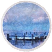Round Beach Towel featuring the mixed media Lewes Pier by Trish Tritz