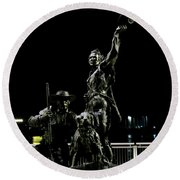 Lewis And Clark Arrive At Laclede's Landing Round Beach Towel