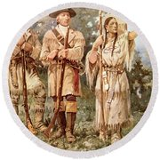 Lewis And Clark With Sacagawea Round Beach Towel