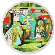 Lewis Carrolls Alice, Red Queen And Cards Round Beach Towel