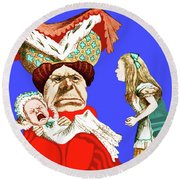 Round Beach Towel featuring the painting Lewis Carrolls Alice, Red Queen And Crying Infant by Marian Cates