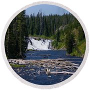 Lewis Falls Yellowstone Round Beach Towel