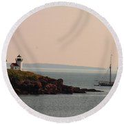 Lewis R French At The Curtis Island Lighthouse Round Beach Towel