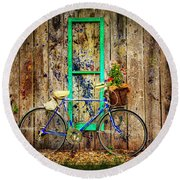 Round Beach Towel featuring the photograph Lewistown Garden Bicycle by Craig J Satterlee