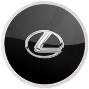 Lexus - 3d Badge On Black Round Beach Towel by Serge Averbukh