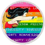 Lgbtq Wonder Women Round Beach Towel
