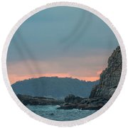 Round Beach Towel featuring the photograph L'heure Bleue, by Ana Mireles