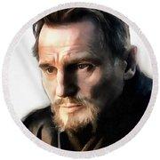 Liam Neeson Round Beach Towel by Sergey Lukashin