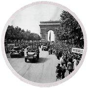 Liberation Of Paris Parade - 1944 Round Beach Towel