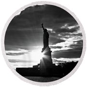 Round Beach Towel featuring the photograph Liberty by Ana V Ramirez