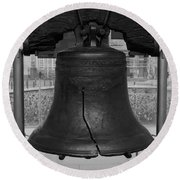 Round Beach Towel featuring the digital art Liberty Bell Bw by Chris Flees