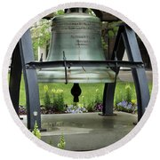 Round Beach Towel featuring the photograph Liberty Bell Replica by Mike Eingle