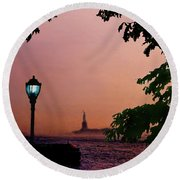 Liberty Fading Seascape Round Beach Towel by Steve Karol
