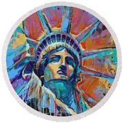 Liberty In Color Round Beach Towel by Damon Gray