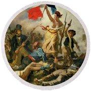 Round Beach Towel featuring the painting Liberty Leading The People By Eugene Delacroix 1830 by Movie Poster Prints